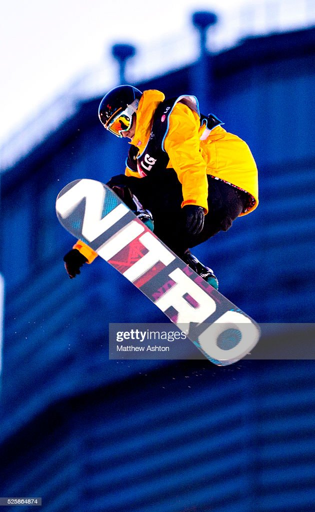 Michael Macho from Austria competing in the LG Snowboard International Ski Federation in London