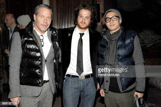Michael Macko Evan Yurman and Eugene Tong attend DAVID YURMAN Classic Timepiece Launch at The New York Public Library on February 23 2009 in New York...