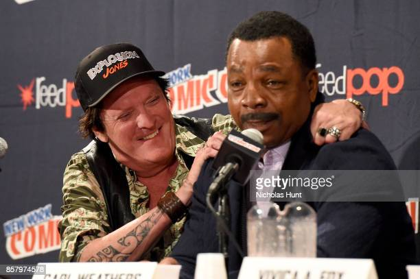 Michael Madsen and Carl Weathers speak onstage at the Explosion Jones panel at the 2017 New York Comic Con Day 1 on October 5 2017 in New York City