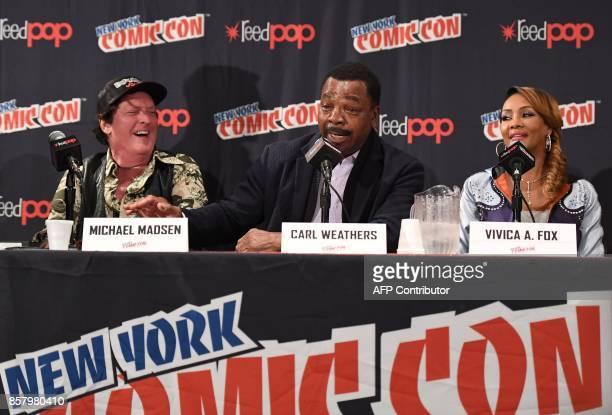 Michael Madsen Carl Weathers and Vivica A Fox attend the 'Explosion Jones' Panel at the 2017 New York Comic Con 2017 at Javits Center on October 5...