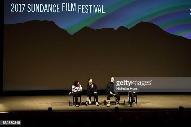 Michael Madsen Lawrence Bender Quentin Tarantino and Sundance Film Festival Senior Programmer John Nein speak at the 'Reservoir Dogs' 25th...