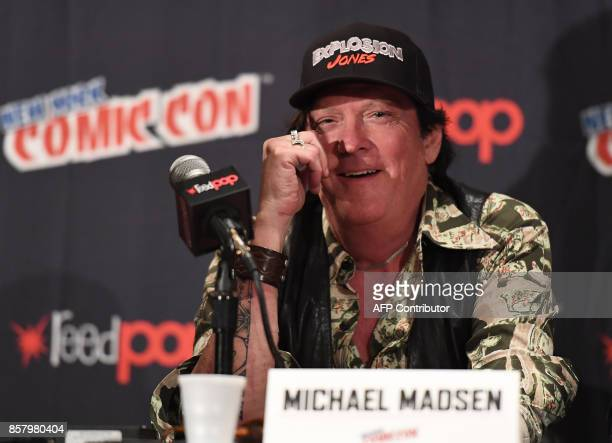 Michael Madsen speaks at the 'Explosion Jones' Panel at the 2017 New York Comic Con 2017 at Javits Center on October 5 2017 in New York City / AFP...