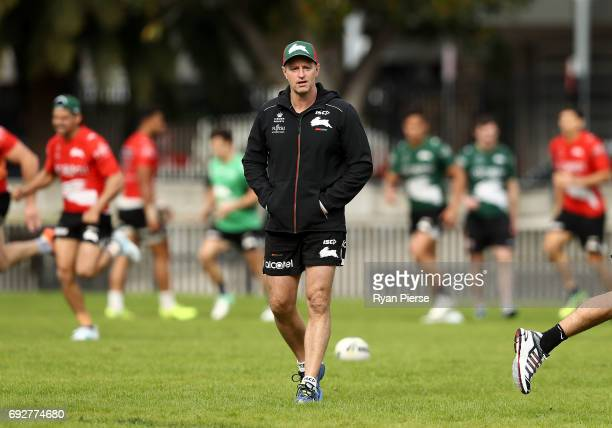 Michael Maguire coach of the Rabbitohs looks on during the South Sydney Rabbitohs NRL training session at Redfern Oval on June 6 2017 in Sydney...