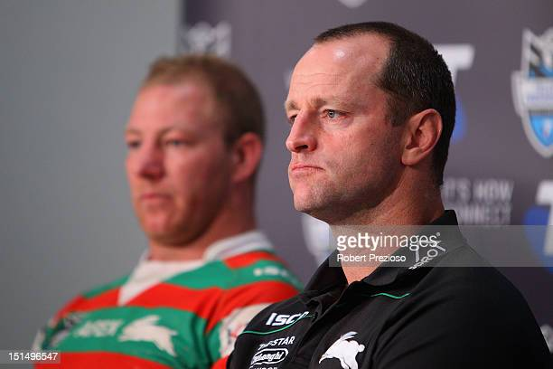 Michael Maguire coach of the Rabbitohs speaks to the media after the Second NRL Qualifying Final match between the Melbourne Storm and the South...