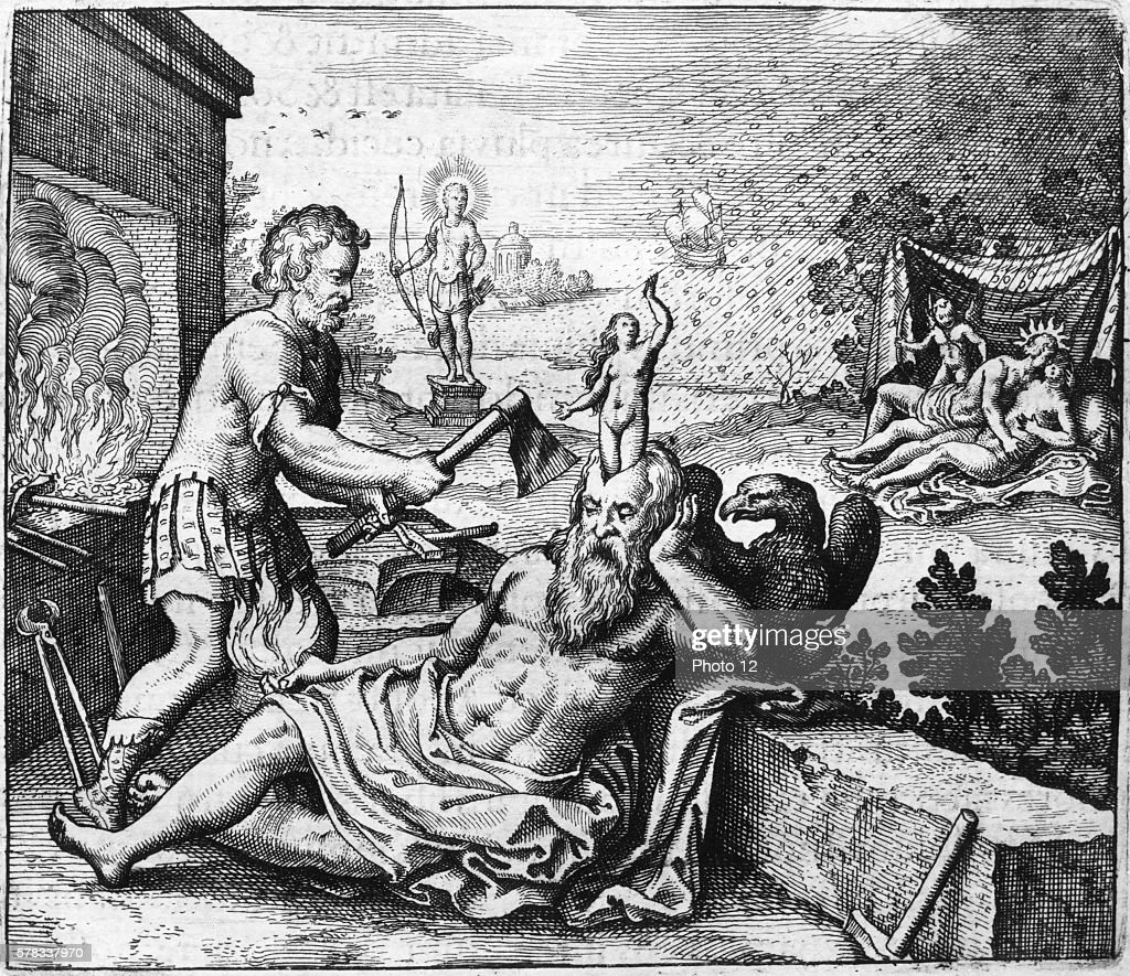 Michael Maier German school Birth of Pallas from Zeus' head In the background Venus and Apollo 1618 Engraving from 'Atalanta Fugiens' or 'Atalanta...
