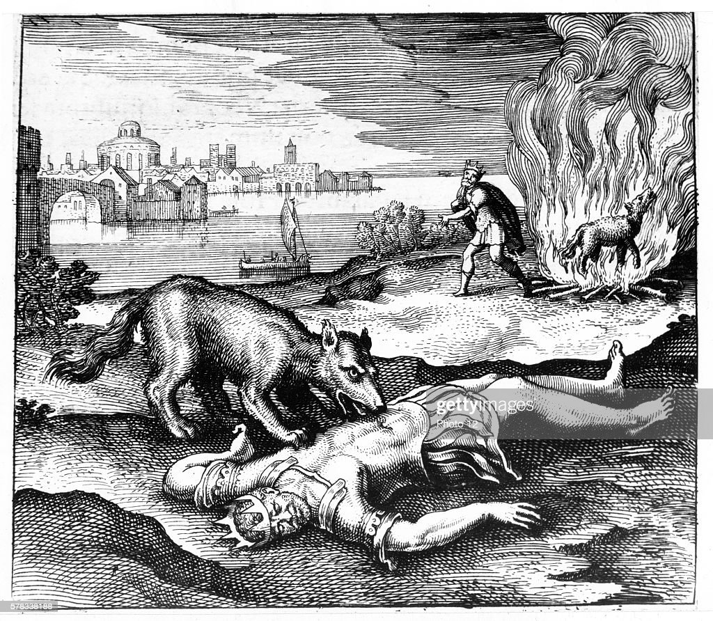 Michael Maier German school The wolf ate the King then once burnt the King came back to life 1618 Engraving from 'Atalanta Fugiens' or 'Atalanta...