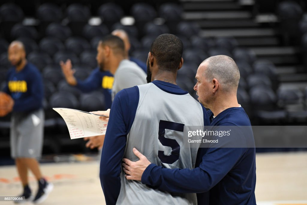 Michael Malone of the Denver Nuggets coaches at practice prior to the game against the Utah Jazz on October 18, 2017 at the Vivint Smart Home Arena in Salt Lake City, Utah.