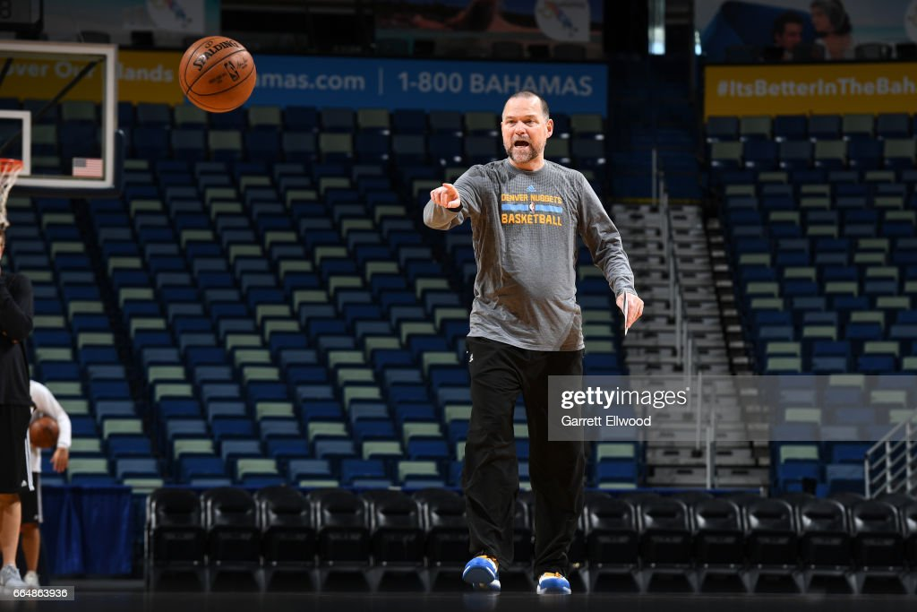 Michael Malone of the Denver Nuggets coaches during practice on April 4, 2017 at the Smoothie King Center in New Orleans, Louisiana.