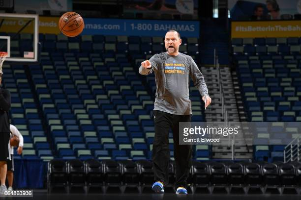 Michael Malone of the Denver Nuggets coaches during practice on April 4 2017 at the Smoothie King Center in New Orleans Louisiana NOTE TO USER User...