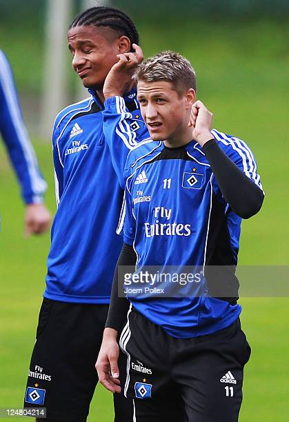 Michael Mancienne and Ivo Ilicevic are seen during the training session of Hamburger SV on September 13 2011 in Hamburg Germany