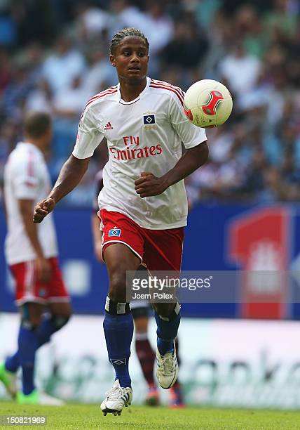 Michael Mancienne of Hamburg controls the ball during the Bundesliga match between Hamburger SV and 1 FC Nuernberg at Imtech Arena on August 25 2012...