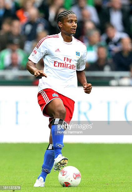 Michael Mancienne of Hamburg controls the ball during the Bundesliga match between Werder Bremen and Hamburger SV at Weser Stadium on September 01...