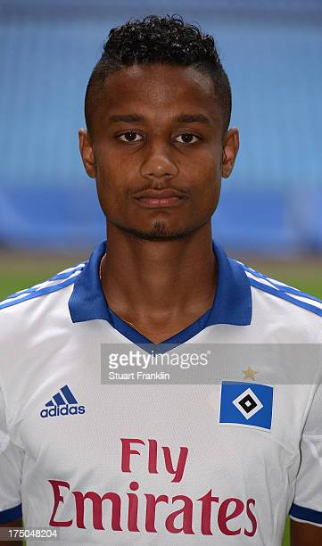 Michael Mancienne of Hamburg poses for a photograph during the official Hamburger SV team presentation on July 30 2013 in Hamburg Germany
