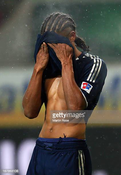 Michael Mancienne of Hamburg reacts during the Bundesliga match between VfL Wolfsburg and Hamburger SV at Volkswagen Arena on December 2 2012 in...