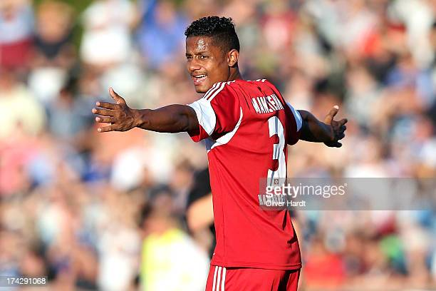 Michael Mancienne of Hamburg reacts during the friendly match Hamburger SV and West Ham United at Flensburger Stadion on July 23 2013 in Flensburg...