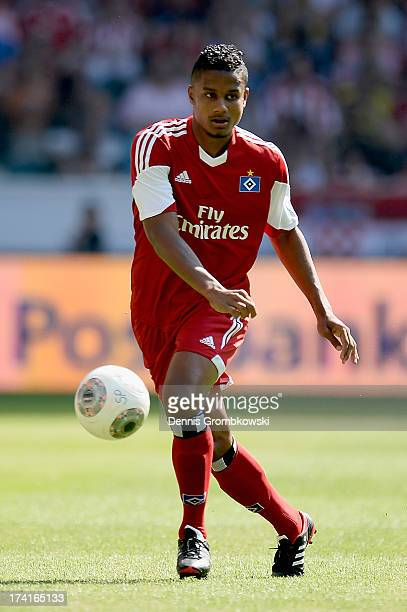 Michael Mancienne of Hamburger SV controls the ball during the Telekom Cup 2013 3rd place match between Borussia Dortmund and Hamburger SV on July 21...
