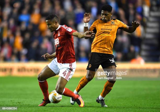 Michael Mancienne of Nottingham Forest and Ivan Cavaleiro of Wolverhampton Wanderers during the Sky Bet Championship match between Wolverhampton...