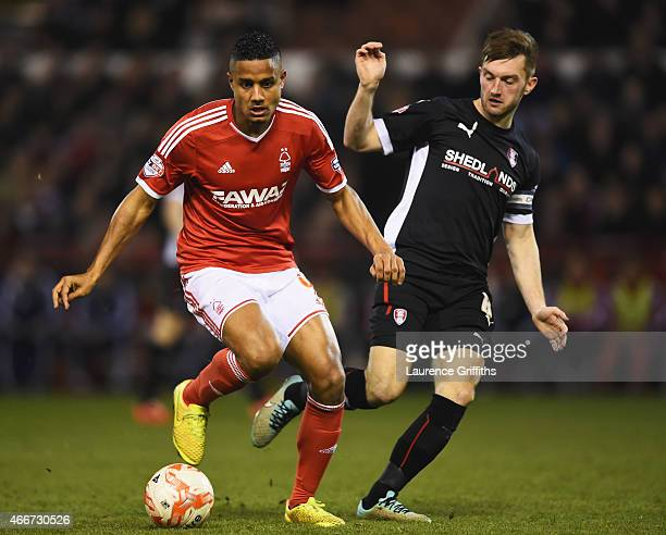 Michael Mancienne of Nottingham Forest evades Lee Frecklington of Rotherham United during the Sky Bet Championship match between Nottingham Forest...