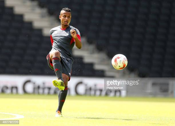 Michael Mancienne of Nottingham Forest in action during the PreSeason Friendly match between MK Dons and Nottingham Forest at Stadium mk on July 27...