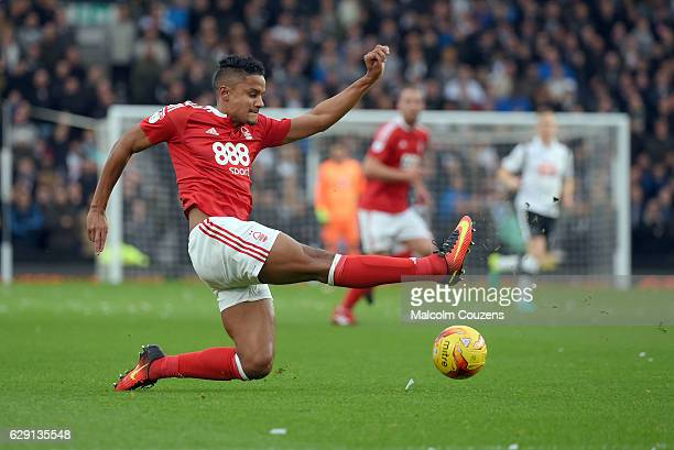 Michael Mancienne of Nottingham Forest stretches for the ball during the Sky Bet Championship match between Derby County and Nottingham Forest at...
