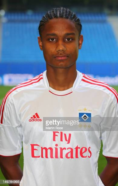 Michael Mancienne poses during the team presentation of Hamburger SV at Imtech Arena on July 26 2012 in Hamburg Germany