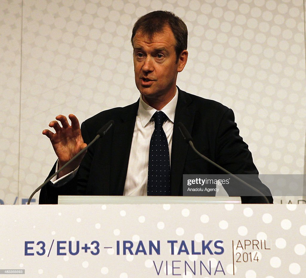 Michael Mann, spokesperson for EU foreign policy chief Catherine Ashton speaks during a press conference following the third round of Iranian nuclear negotiations in Vienna, Austria on April 8, 2014.