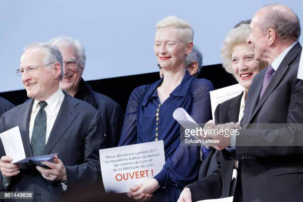 Michael Mann Tilda Swinton and Marisa Paredes attends the opening ceremony of 9th Film Festival Lumiere In Lyon on October 14 2017 in Lyon France