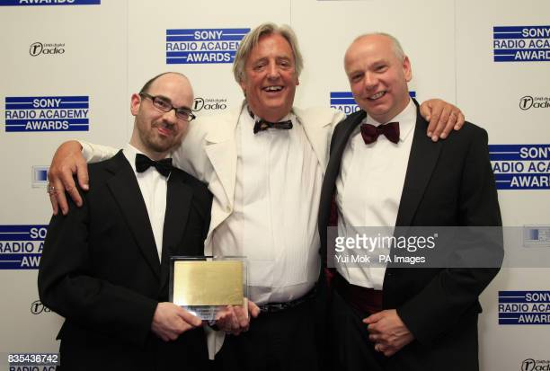 Michael Mansfield QC with Adam Fowler and Steve Urquhart who won the Community Award for 'A Sound Fix' at the Sony Radio Academy Awards at Grosvenor...