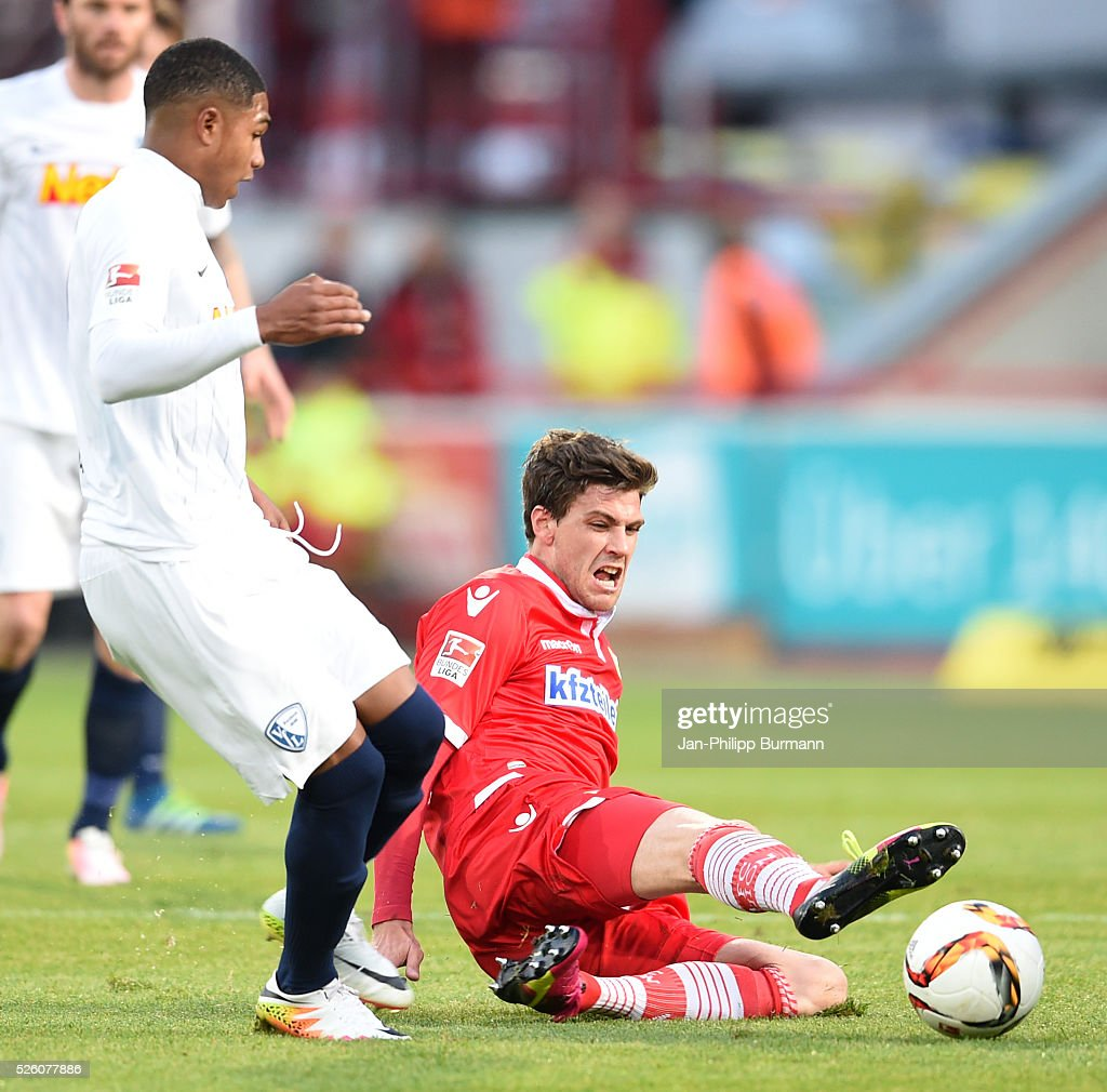 Michael Maria of VFL Bochum and Benjamin Kessel of 1 FC Union Berlin during the game between Union Berlin and VFL Bochum on April 29, 2016 in Berlin, Germany.