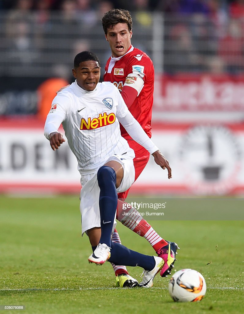 Michael Maria of VFL Bochum and Niklas Stark of Hertha BSC during the game between Union Berlin and dem VfL Bochum on april 29, 2016 in Berlin, Germany.