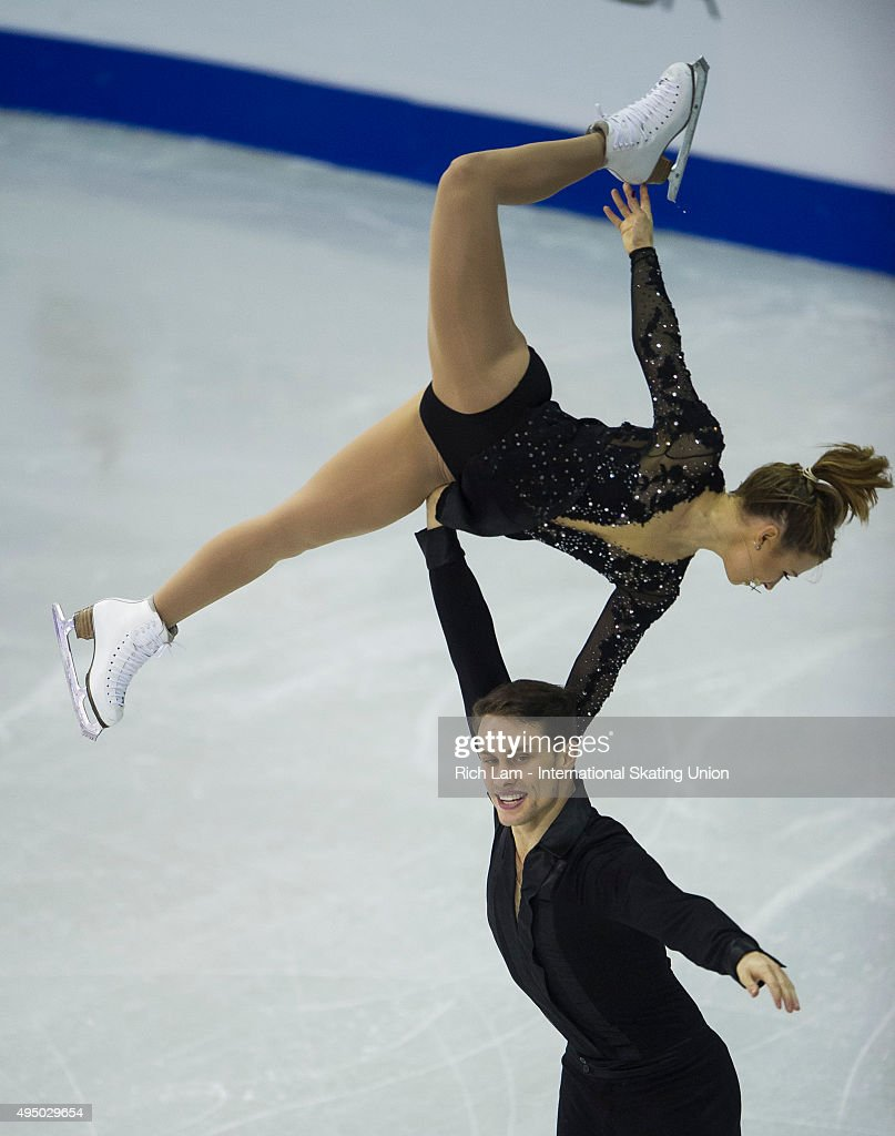 Michael Marinaro of Canada skate lifts Kirsten Moore-Towers during the Pair's Short Program on day one of Skate Canada International ISU Grand Prix of Figure Skating, October, 30, 2015 at ENMAX Centre in Lethbridge, Alberta, Canada.