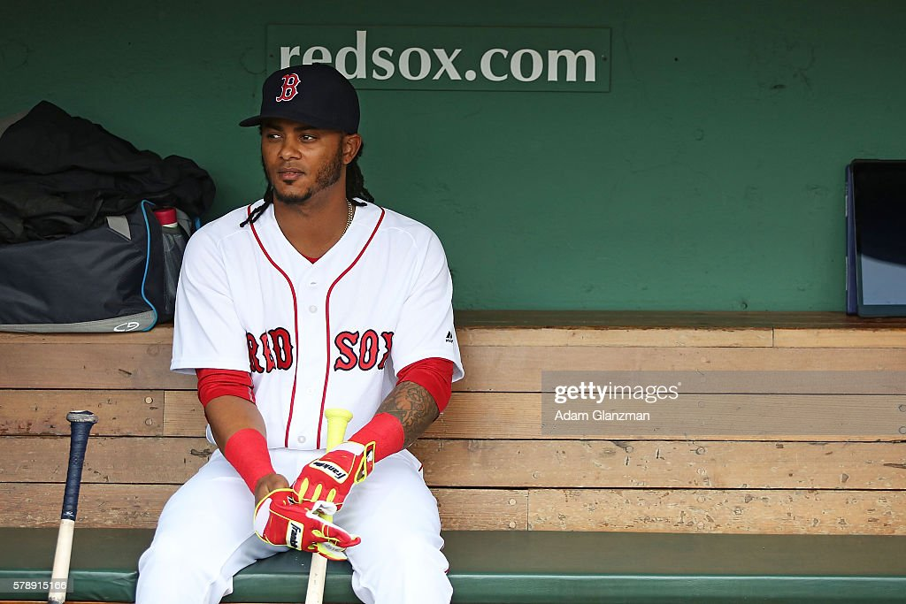 Michael Martinez of the Boston Red Sox prior to the game against the Tampa Bay Rays at Fenway Park on July 9 2016 in Boston Massachusetts