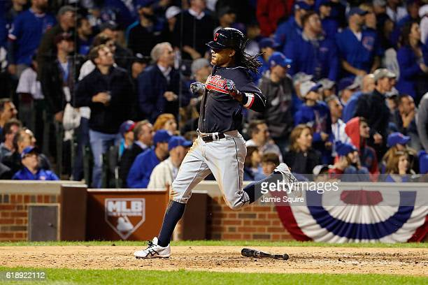 Michael Martinez of the Cleveland Indians scores a run in the seventh inning against the Chicago Cubs in Game Three of the 2016 World Series at...