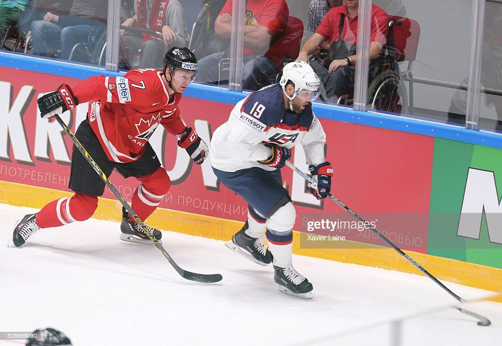Michael Matheson of Canada in action with <a gi-track='captionPersonalityLinkClicked' href=/galleries/search?phrase=Patrick+Maroon&family=editorial&specificpeople=4589240 ng-click='$event.stopPropagation()'>Patrick Maroon</a> of USA during the 2016 IIHF World Championship between USA and Canada at Yubileyny Sports Palace ,on May 6, 2016 in Saint Petersburg, Russia.