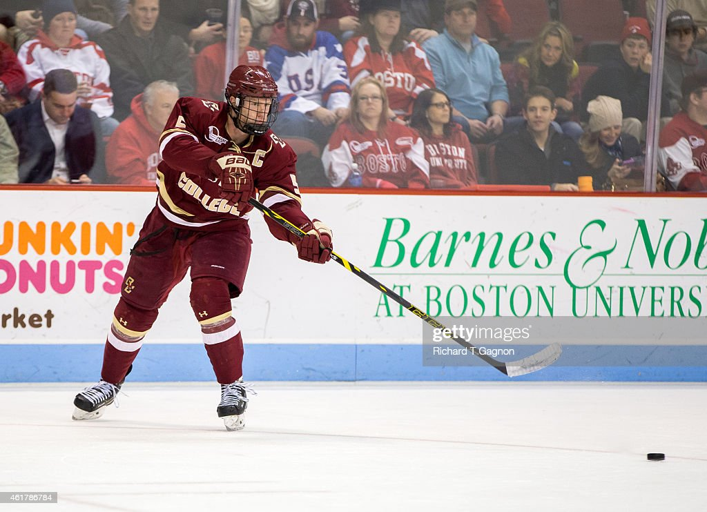 Michael Matheson #5 of the Boston College Eagles passes the puck during NCAA hockey against the Boston University Terriers at Agganis Arena on January 16, 2015 in Boston, Massachusetts. The Eagles won 4-2.