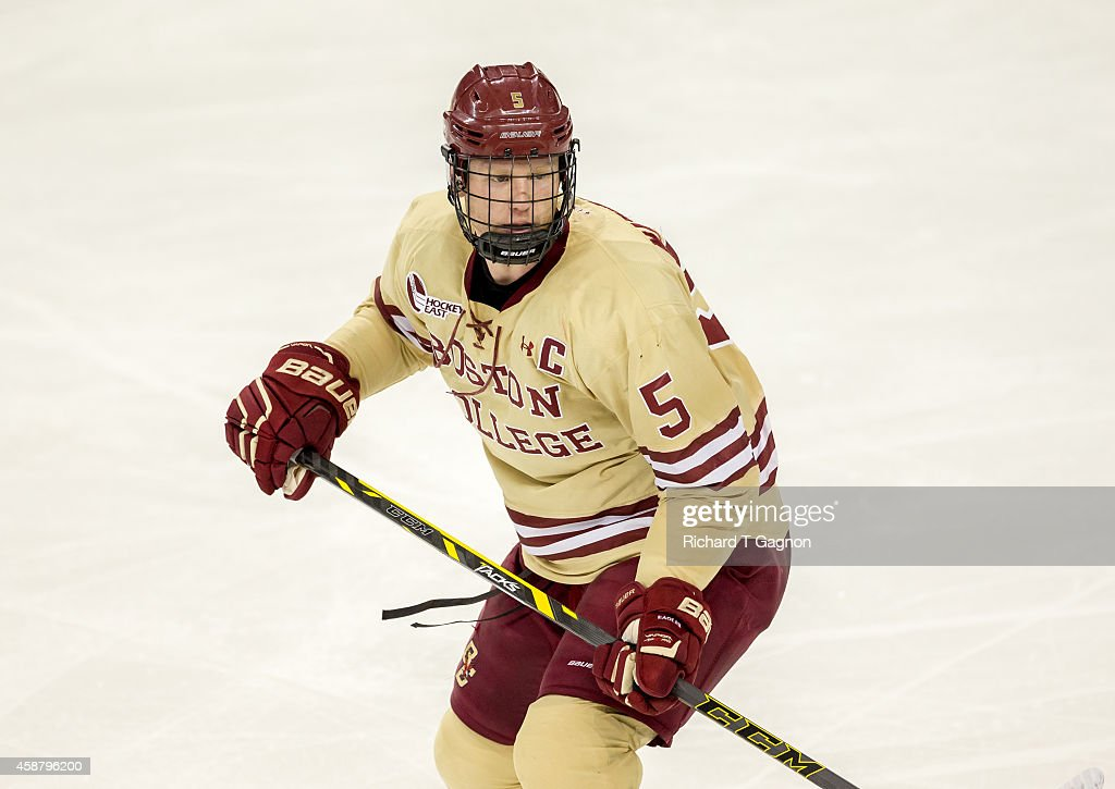 Michael Matheson #5 of the Boston College Eagles skates against the Boston University Terriers during NCAA hockey at Kelley Rink on November 7, 2014 in Chestnut Hill, Massachusetts. The Terriers won 5-3.
