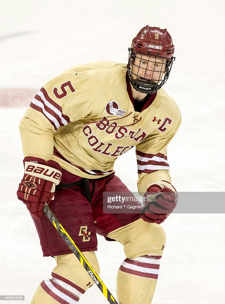 Michael Matheson #5 of the Boston College Eagles skates against the Michigan Wolverines during NCAA hockey at Kelley Rink on December 13, 2014 in Chestnut Hill, Massachusetts. The Eagles won 5-1.