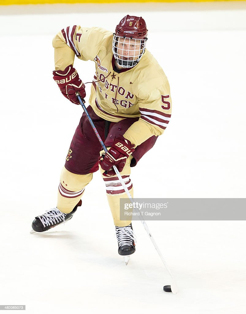 Michael Matheson #5 of the Boston College Eagles skates against the Denver Pioneers during the NCAA Division I Men's Ice Hockey Northeast Regional Championship Semifinal at the DCU Center on March 29, 2014 in Worcester, Massachusetts.