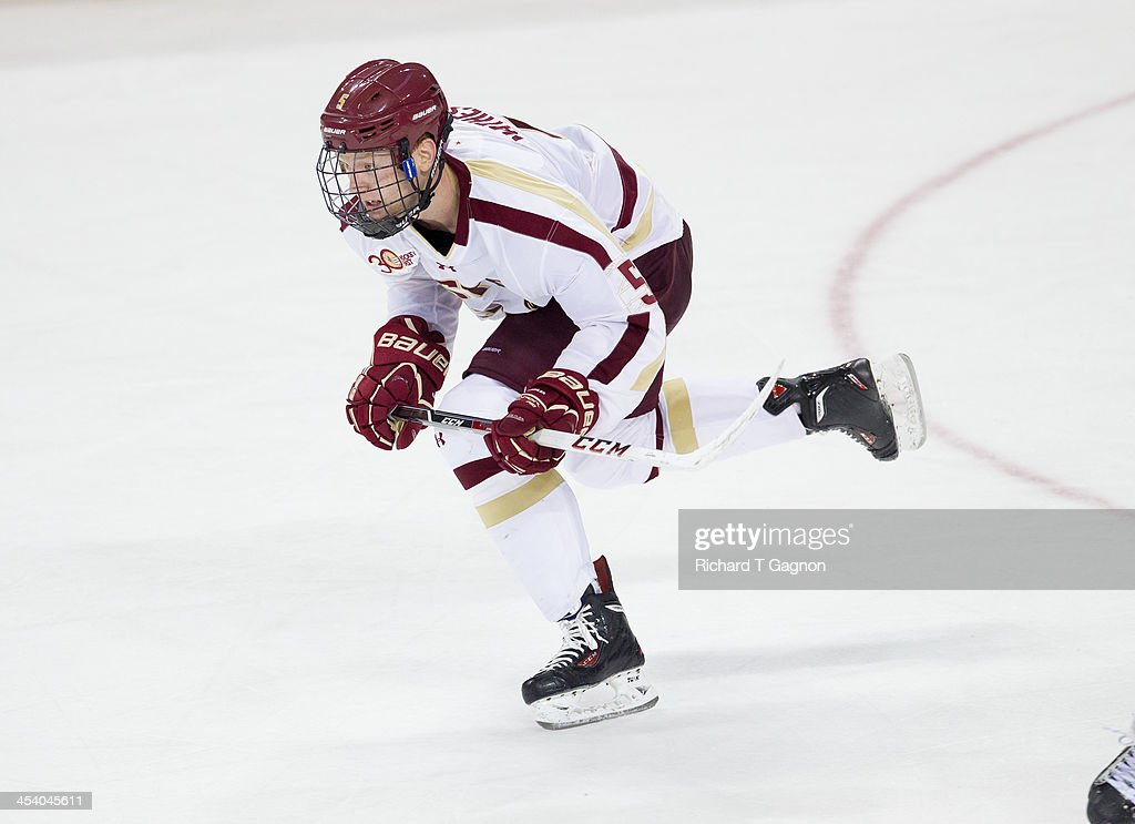 Michael Matheson #5 of the Boston College Eagles skates up ice during NCAA hockey action against the New Hampshire Wildcats at Kelley Rink on December 6, 2013 in Chestnut Hill, Massachusetts.
