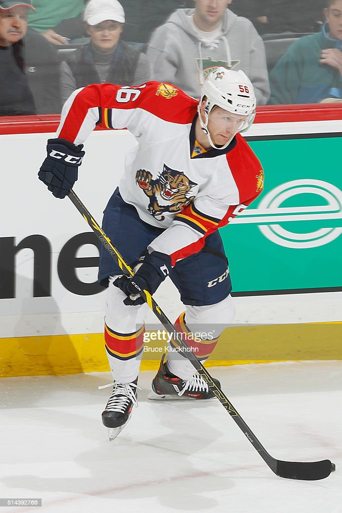 Michael Matheson #56 of the Florida Panthers handles the puck against the Minnesota Wild during the game on February 28, 2016 at the Xcel Energy Center in St. Paul, Minnesota.