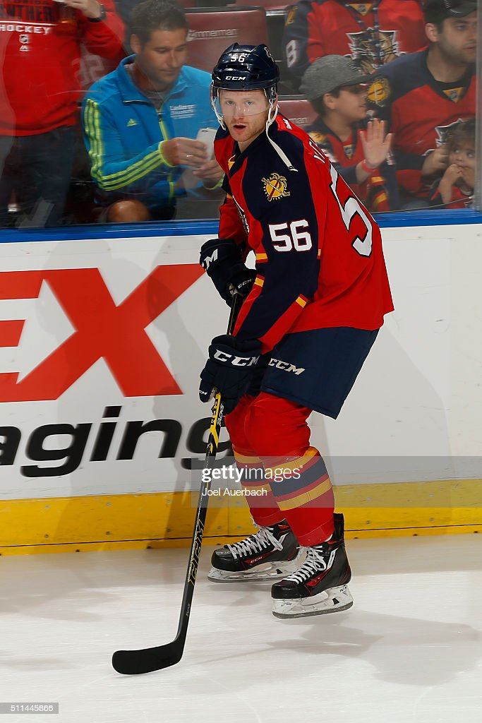 Michael Matheson #56 of the Florida Panthers skates prior to the game against the Winnipeg Jets at the BB&T Center on February 20, 2016 in Sunrise, Florida.