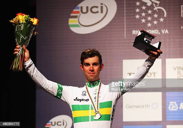 Michael Mathews of Australia stands on the podium after finishing second in the Elite Men World Road Race Championship on day eight of the UCI Road...