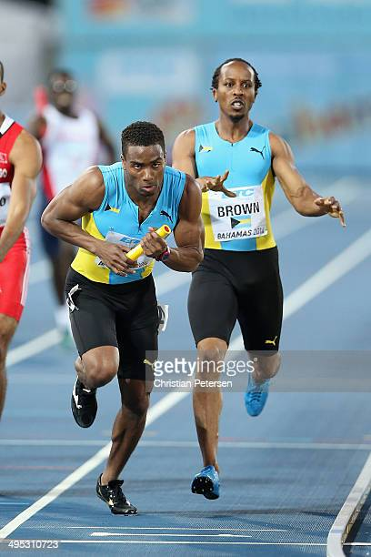 Michael Mathieu and Chris Brown of Bahamas compete in the Men's 4x400 metres relay final during day two of the IAAF World Relays at the Thomas...