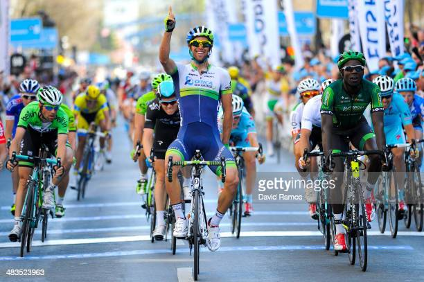 Michael Matthews of Australia and Team Orica GreenEdge celebrates winning a sprint finish during Stage Three of Vuelta Al Pais Vasco from Urdax to...