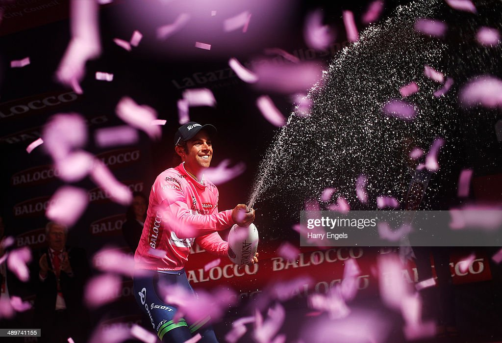 Michael Matthews of Australia and team Orica-GreenEDGE sprays champagne in celebration after retaining the Maglia Rosa jersey following the third stage of the 2014 Giro d'Italia, a 187km stage between Armagh and Dublin on May 11, 2014 in Dublin, Ireland.