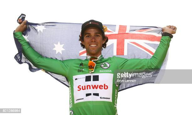 Michael Matthews of Australia and Team Sunweb celebrates on the podium after winning the green jersey during stage twenty one of Le Tour de France...