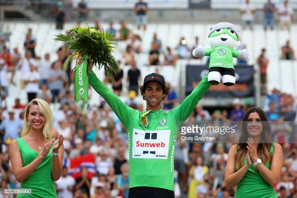 Michael Matthews of Australia and Team Sunweb puts on the green jersey during stage twenty of Le Tour de France 2017 on July 22 2017 in Marseille...