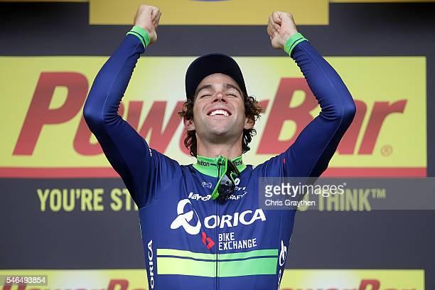 Michael Matthews of Australia riding for OricaBikeExchange celebrates on the podium after winning stage ten of the 2016 Le Tour de Frane a 197km...