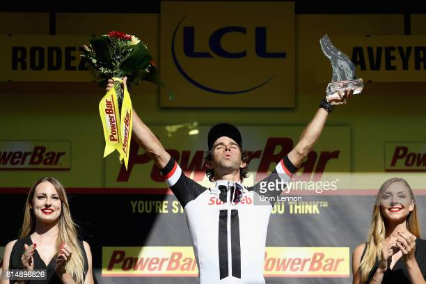 Michael Matthews of Australia riding for Team Sunwb celebrates winning the stage after stage 14 of the Le Tour de France 2017 a 181km stage from...