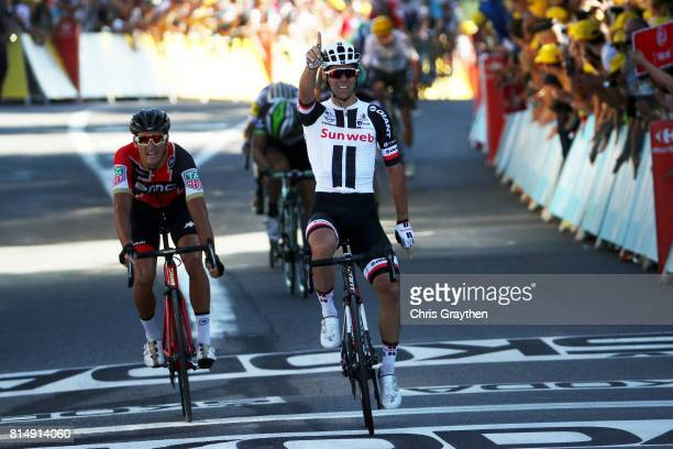 Michael Matthews of Australia riding for Team Sunweb celebrates after winning stage 14 of the 2017 Le Tour de France a 1815km stage from Blagnac to...